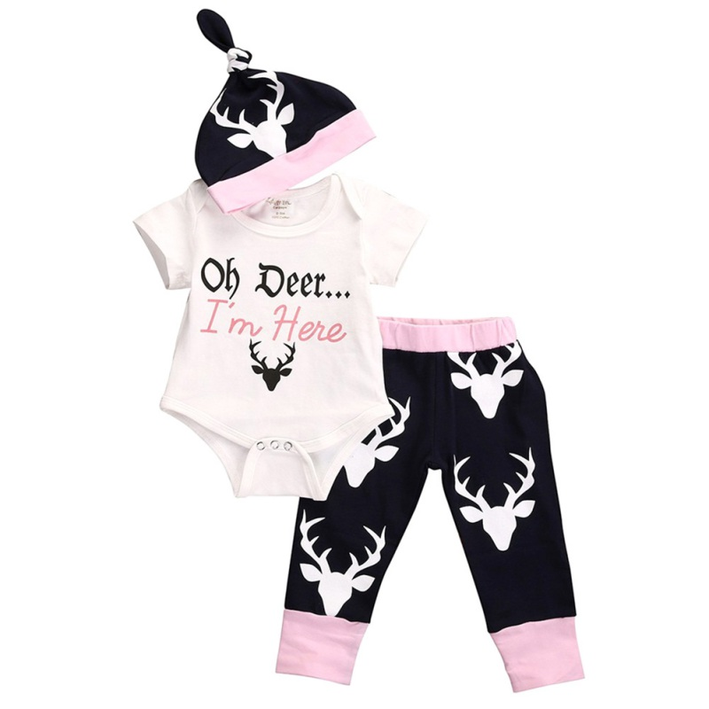 2018 New And Stylish Three Pieces White Letter Deer Head Baby Romper Set Comfortable For Dressing