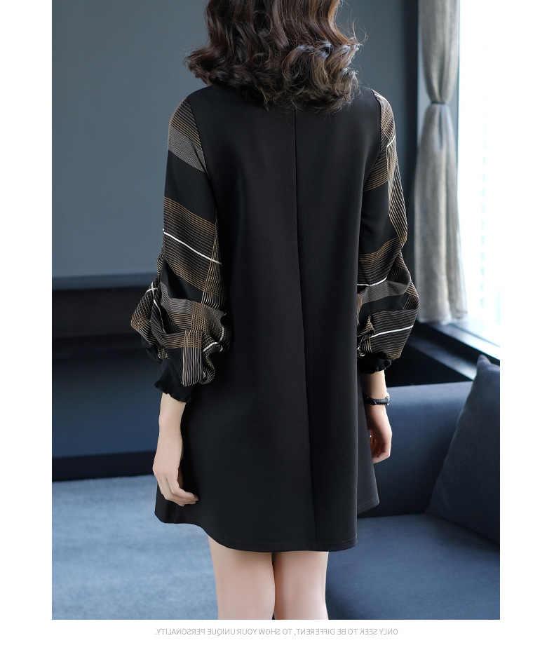 Оптовая продажа, новое удобное женское платье с длинными рукавами, стоячий воротник, женское платье, Модное теплое свободное платье до колена