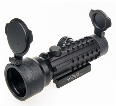 Outdoor 2x42mm Red Green Dot Rifle Scope Sight With 20mm Weaver/pica Tri Rifle Troy Sights Laser Bore Sight For Hunting