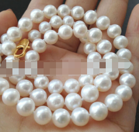 NEW  Beautiful AAA+ 17.5 8mm white perfect round freshwater pearl necklaceNEW  Beautiful AAA+ 17.5 8mm white perfect round freshwater pearl necklace