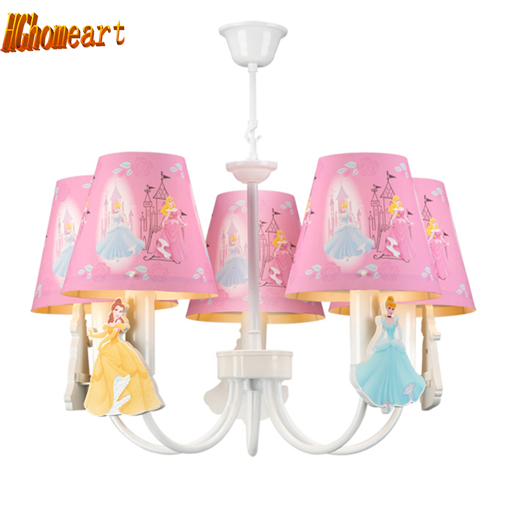 ФОТО HGhomeart Children bedroom Led chandeliers room chandelier Nordic American princess cartoon princess girl pink home lighting