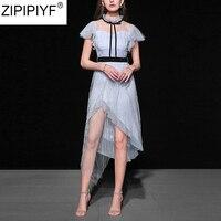 2018 Лето Высокое качество Уличная платье Для женщин сетка прозрачная Платье асимметричное модные, пикантные вечерние Империя середины икры