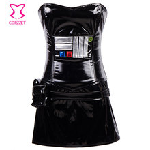 Black PVC Sexy Leather Corsets And Bustiers Gothic Korsett For Women Steampunk Dress Halloween Club Burlesque Corset Skirt Set