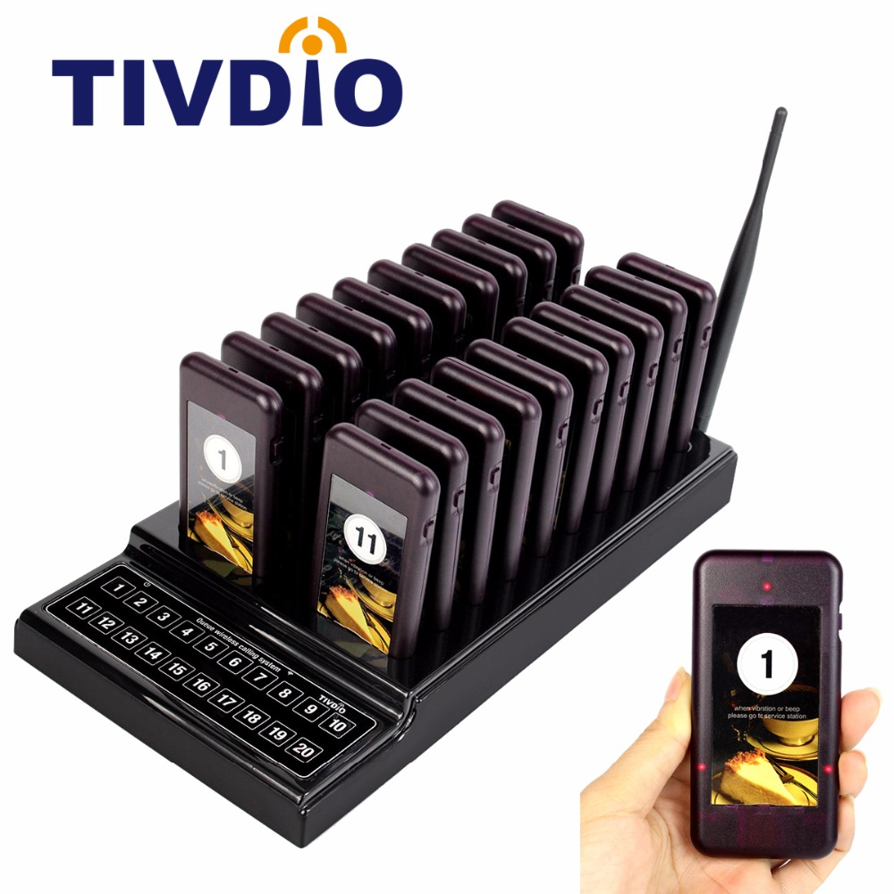 TIVDIO T-111 Restaurant Pagers 20 Call Wireless Calling Paging Queuing System Guest Call Button Waiter Catering Equipment F9401 coffee shop service restaurant waiter buzzer table call button guest paging system 20 bell with 2 receivers
