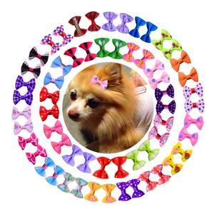 Image 1 - 100ピース/ロット50 pairs mixスタイルちょう結びヤマガラ色手作り犬弓ペットヘアクリップ犬ヘアアクセサリーペットグルーミング製品