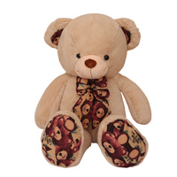 New Cute 100cm Printed Bow Tie Plush Bear Toys Stuffed Animals Soft Toys Birthday & Valentine's Gifts For Girls Kids Toy Dropshi