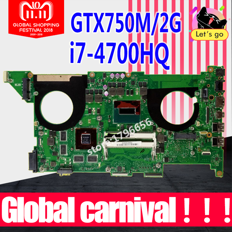N750JV For ASUS N750J N750JV N750JK I7-4700HQ CPU GT750 Laptop motherboard for asus n750jv REV2.0/2.1 mainboard Test 100% OK цена