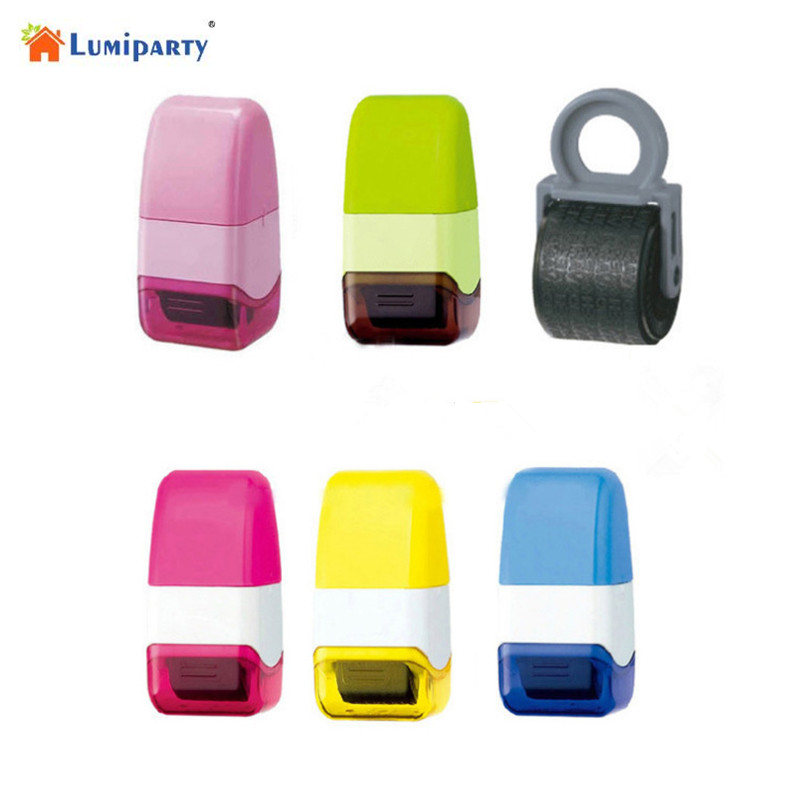 Lanlan Roller Stamp,Mini Identity Theft Prevention Security Self-Inking Stamps,Messy Code Security for Office diasporic identity
