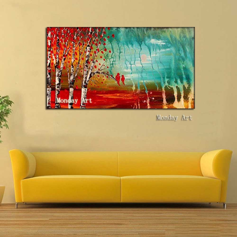 Hand-painted-landscape-birch-tree-oil-painting-on-canvas-small-bird-on-the-branches-modern