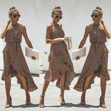 Women Boho Polka Dot Maxi Dress Evening Party Summer Beach Long Sundress Holiday цена и фото