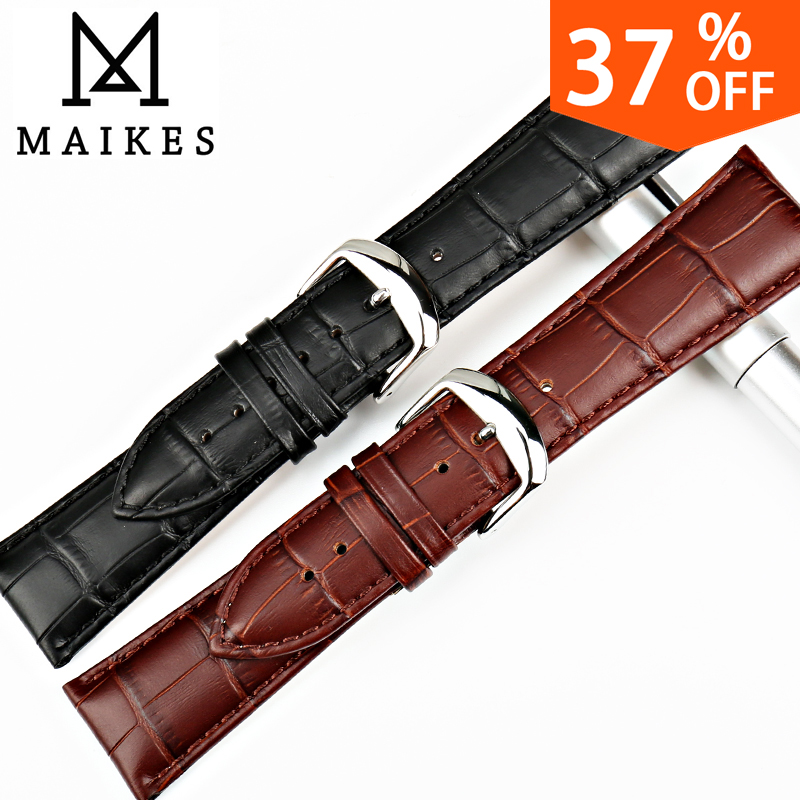 MAIKES Watch Accessories 18 20 22 24mm Genuine Leather Watch Band Black Strap Watch Bracelet For Seiko Watchbands maikes new watch accessories watch strap red genuine leather 12mm 24mm watch bracelet watchbands case for casio watch band