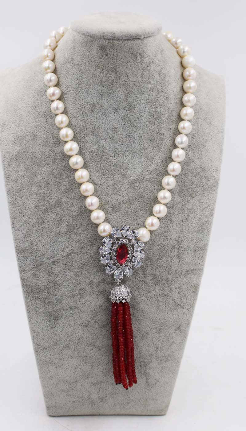 freshwater pearl white near round 10-11mm and jades red green ROUNDEL neck 18inch wholesale bead discount gift hot white casual round neck ruffled dress