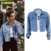 2019 women clothing long sleeve solid relaxed washed pure cotton denim jacket short coat Female casual loose jean outerwear