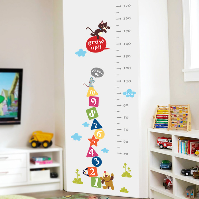 Cat Dog Funny Mouse Growth Chart Number Height Measure Wall Sticker For Kids Baby Nursery Bedroom