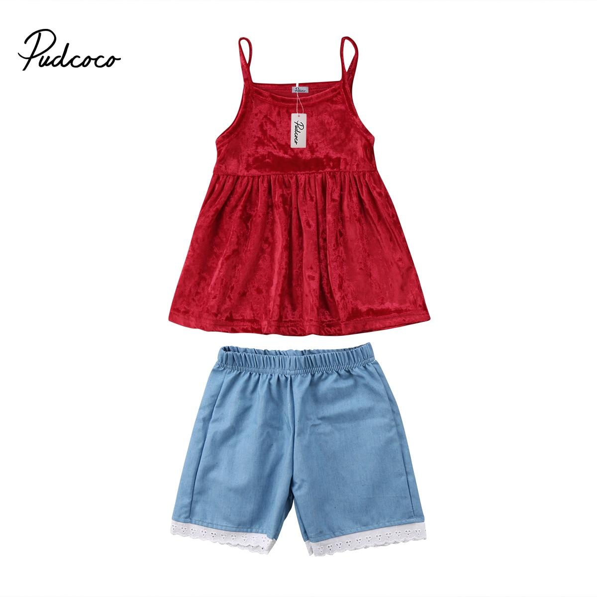 Pudcoco Лето 2 шт. Детские наряды для девочек с бантом Футболка + Брюки для девочек Шорты для женщин 2 шт. Костюмы комплект