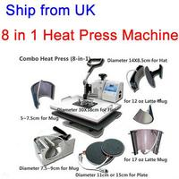 Free Shipping From UK No Tax 8 In 1 Heat Press Machine For Tshirt Mug Cap