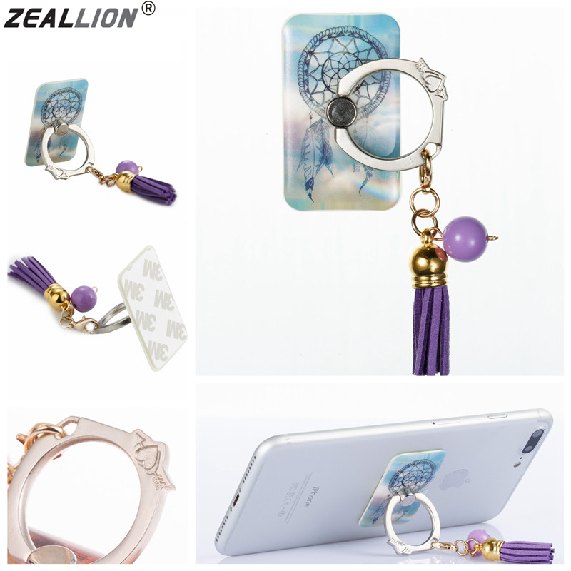 ZEALLION Universal Rectangle 360 Degree Rotating Pattern Sticky Square Finger Ring Stand For Phone Accessories