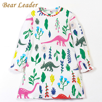 Bear Leader Girls Dress 2017Brand Autumn Girls Clothes Eruopean And American Style Dinosaur Print Design Petal