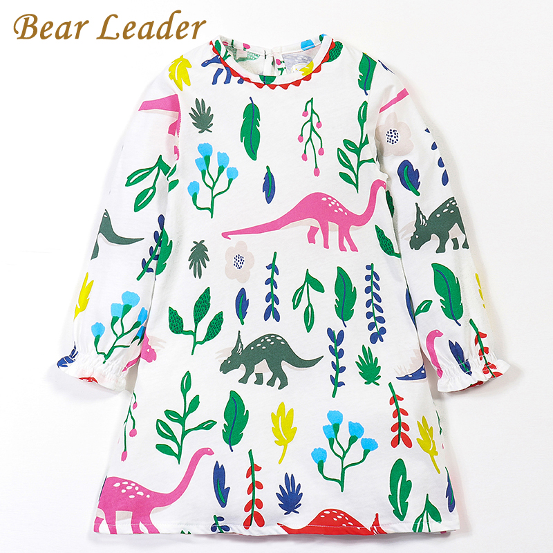 Bear Leader Girls Dress 2017Brand Autumn Girls Clothes European and American Style Dinosaur Print Design Petal Sleeve Kids Dress 100% real photo brand kids red heart sleeve dress american and european style hollow girls clothes baby girl clothes
