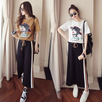 Summer two piece female 2019 new Korean casual student fashion short sleeved T shirt + wide leg pants Woman's sets chandal mujer
