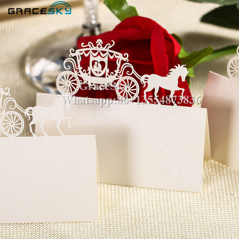 Us 12 99 50pcs Laser Cutting Prince Princess In Carrige Table Name Place Seat Paper Wedding Invitation Cards For Party Table Decoration In Cards