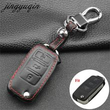 jingyuqin Leather Car Key Cover Case For VW Passat CC POLO Golf GTI jetta tiguan Gol CrossFox Eos Scirocco Beetle for Skoda Seat
