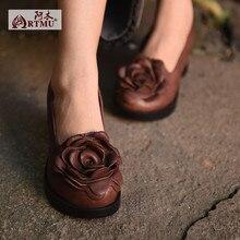 2017 оригинальный дизайн новый цветок ретро обувь из натуральной кожи на высоких каблуках толстые каблуки женская обувь высокого качества 6669