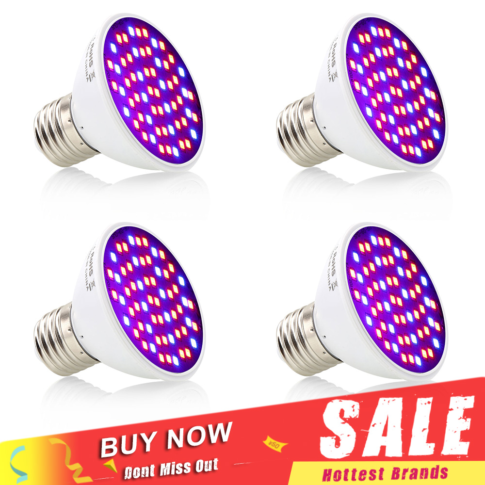 4pcs/Lot 60 LEDs Grow Light E27 85-265V Full Spectrum Indoor Plant Lamp For Seedling Vegs Flower Hydroponic Led Plant Light
