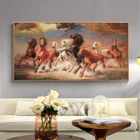 Animal Poster Horses Gallop Printed on Canvas Painting Retro Chinoiserie Running Horse Wall Painting Home Decor Wall Art Picture