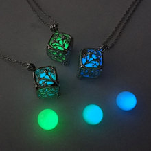 Tree Of Life Dark Luminous Necklaces Silver Color Chain Necklace Glowing in Dark Pendant Necklaces Collares Maxi Choker Jewelry(China)