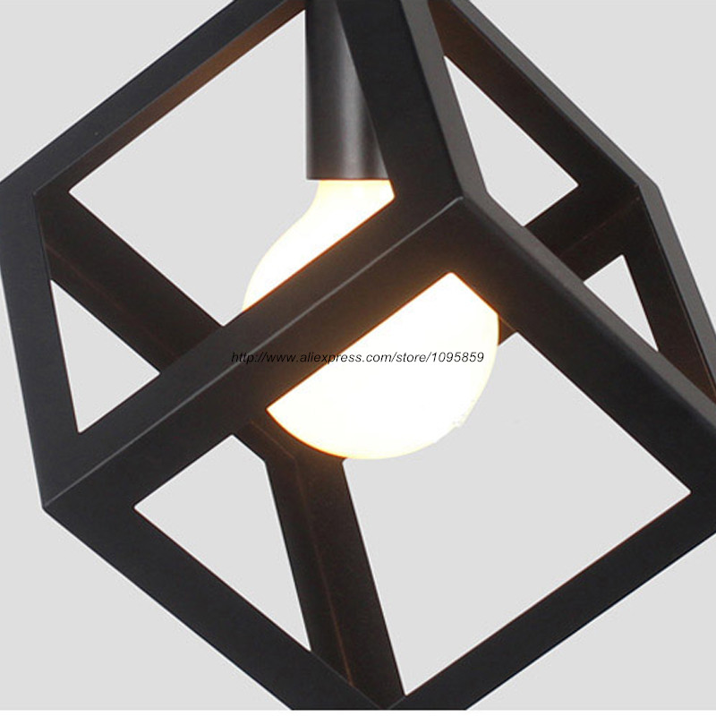 Black Square Metal Pendant Light Fixture Vintage Cube Cage Iron Ceiling Hanging Lighting 1 LED Bulb In Lights From On