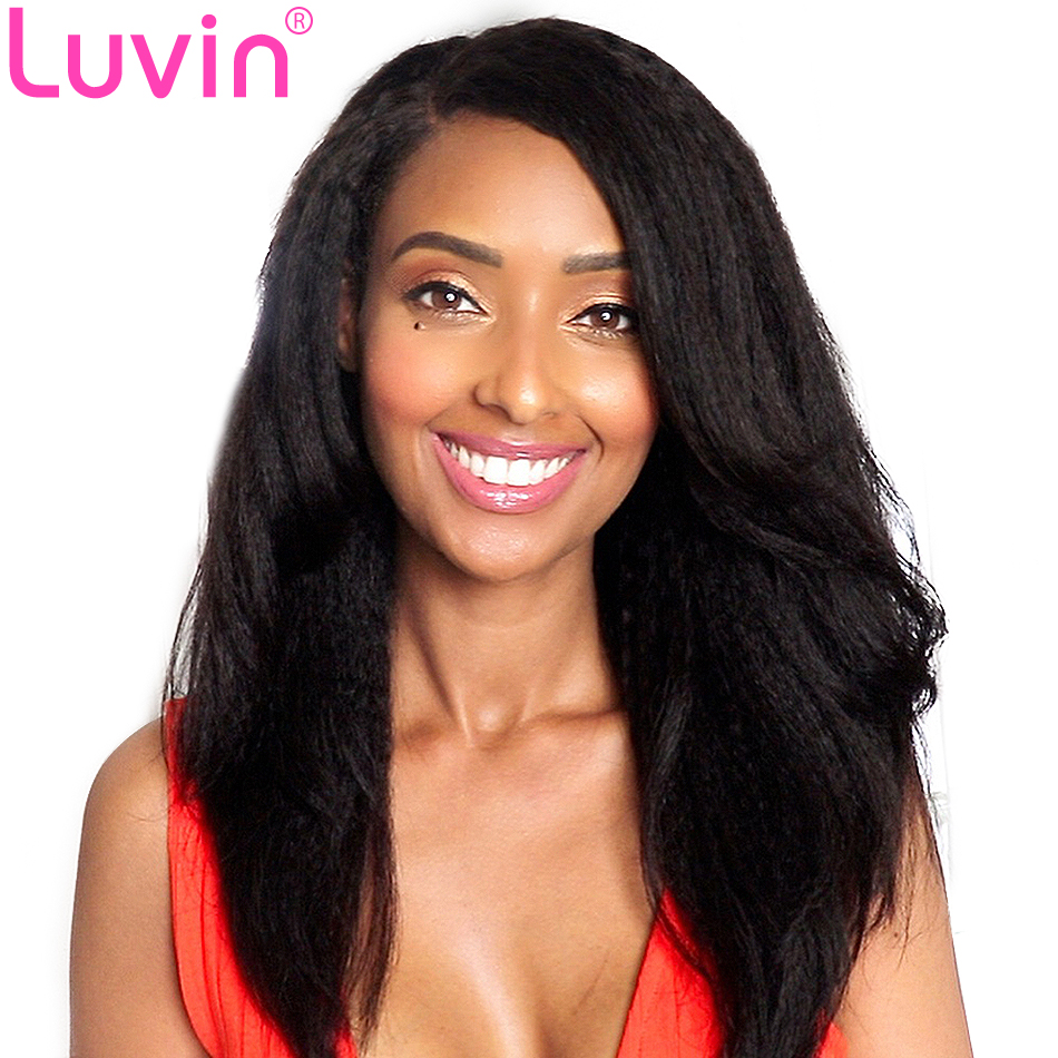 Luvin Glueless Short Bob Lace Front Human Hair Wigs Kinky Straight Brazilian Remy Hair Lace Frontal