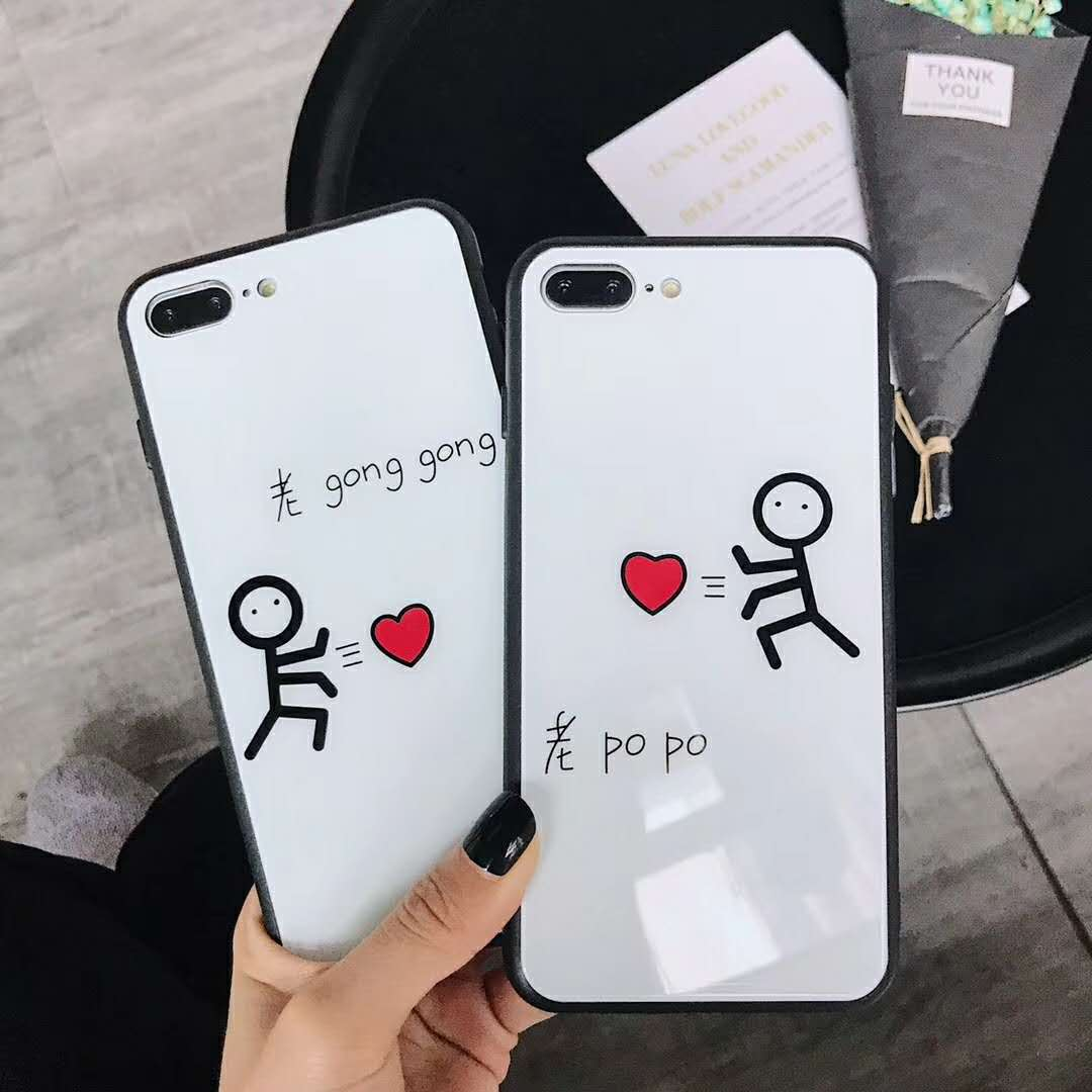 Luxury Tempered Glass Phone Case For iPhone X 6 6S 7 8 Plus Case Fashion Small man Cover For iPhone 6splus Case