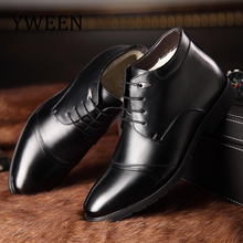 YWEEN Luxury New Winter Boots Men Warm Thicken Fur Leather Boots Fashion Male Business Office Formal Leather Shoes