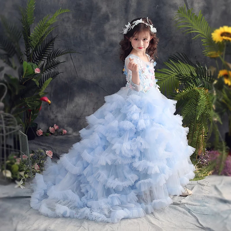 2018Summer New Children Girls Luxury Birthday Evening Party Long Tail Princess Dress Kids Model Show Wedding Party Costume Dress new high quality children girls blue princess lace party dress wedding birthday dress with layers mesh tail kids costume dress