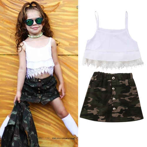 cdf2b5dc3a678 Summer Sleeveless Crop Tops Tassel Lace Camouflage Skirt Girls Clothing  Cute Outfits 2PCs Children Kid Baby Girl Clothes Set