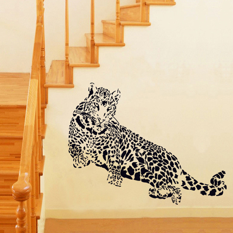 Black Pvc Wall Stickers Cheetah Leopard 3d Removable Wall