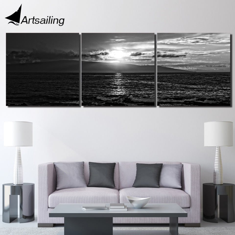 3 piece HD Printed seascape sunset black white picture Painting ...