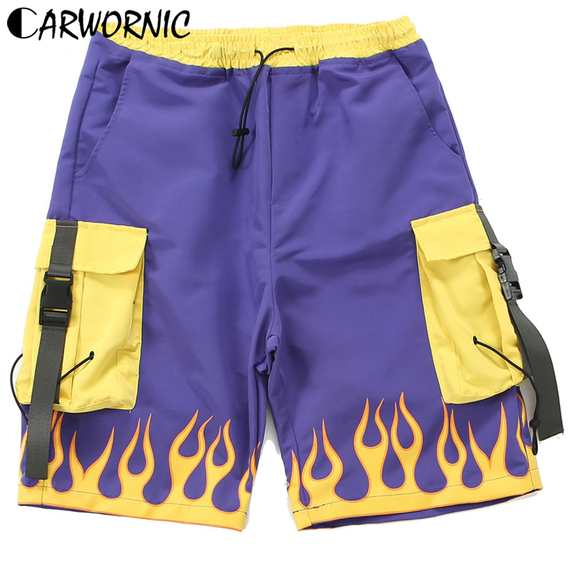 CARWORNIC SportWear Cargo Shorts Men Side Strap Buckle Hip Hop Streetwear Shorts Fire Flame Multi Pockets Baggy Casual Trousers