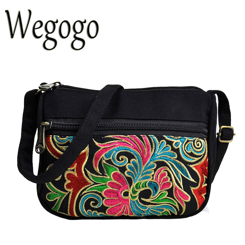 Wegogo Vintage Women Shoulder Bag Retro Embroidery Messenger Bags Canvas Handbag Ladies Bag Casual Flap Bolsa Femininas men handbags women canvas shoulder messenger bags large capacity travel bag retro ladies handbag straps bolsa masculina vintage