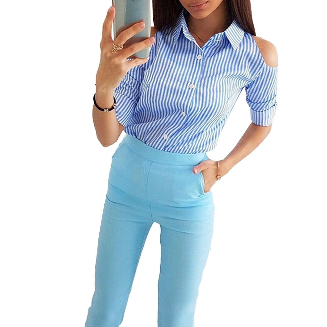 Carreaux Bouton Dames Féminin Femmes Bas Le Manches Automne Chemise Black D'été Vers Tournent blue À Bureau Sexy Blouse Blusas Longues Chemises Encolure xIB7fwqF