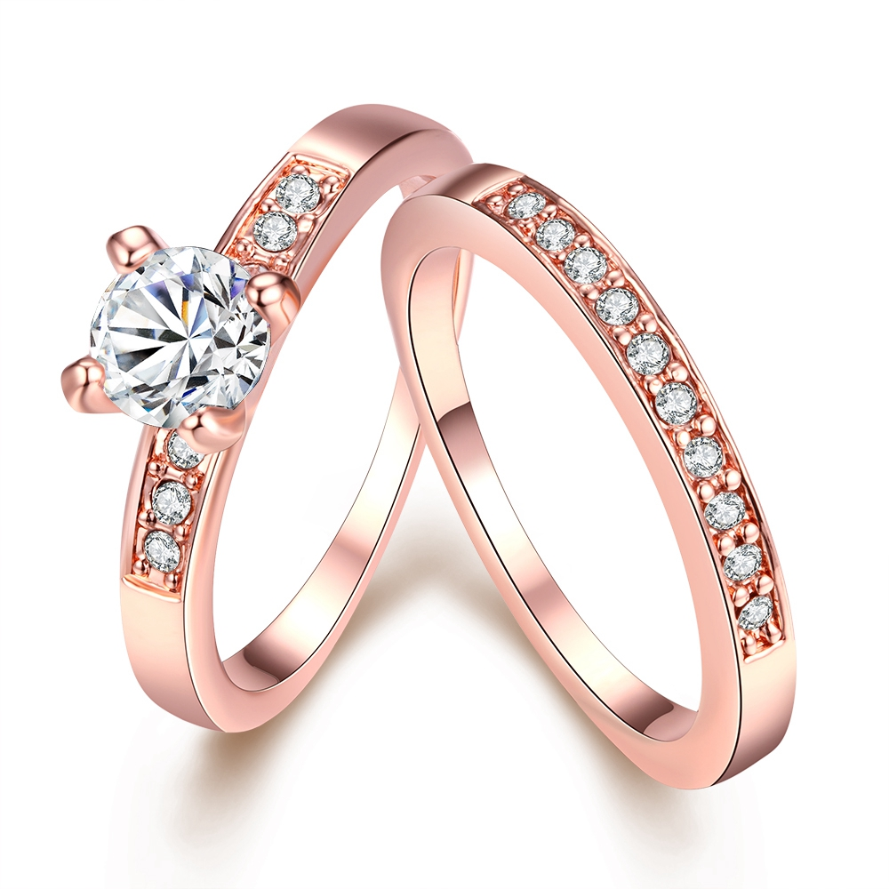 1 Set = 2 Stücke Rose Gold Farbe Ringe Für Frauen Engagement Hochzeit Silber Farbe Doppel Finger Ring Set Mit Cubic Zirkon Geschenk Schmuck Online Shop