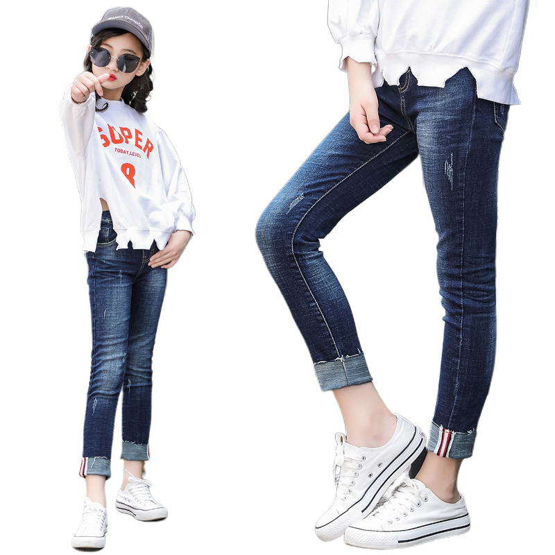 2019 Girl Denim Pants Teenage Girl Skinny Jeans Leggings Cotton Elasticity Jeans for Big Girls Pants Casual Trousers 3y-15y