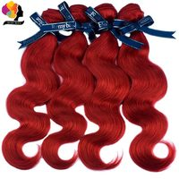 Remy Blue Red Hair Bundles Indian Body Wave Bundles 99J Burgundy Human Hair Weave Bundles Double Welf 100% Remy Hair Extensions