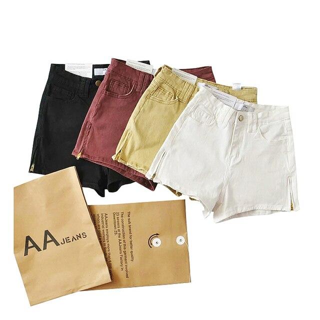 Бренд дизайн Мода женщина высокая талия боковой молнии прямые сплошной цвет воды для мытья стрейч kinny джинсовые шорты женщин