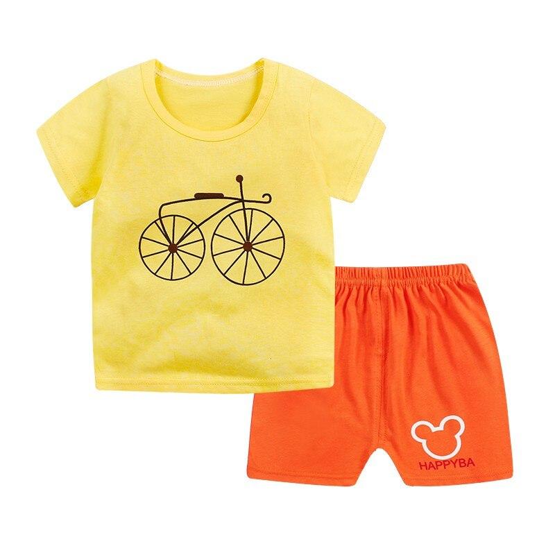Cute Newborn Baby Girls Boys Clothes Pure Cotton Kids Bodysuit Summer Short Sleeve Childrens Clothing Sets Cartoon Body Suit