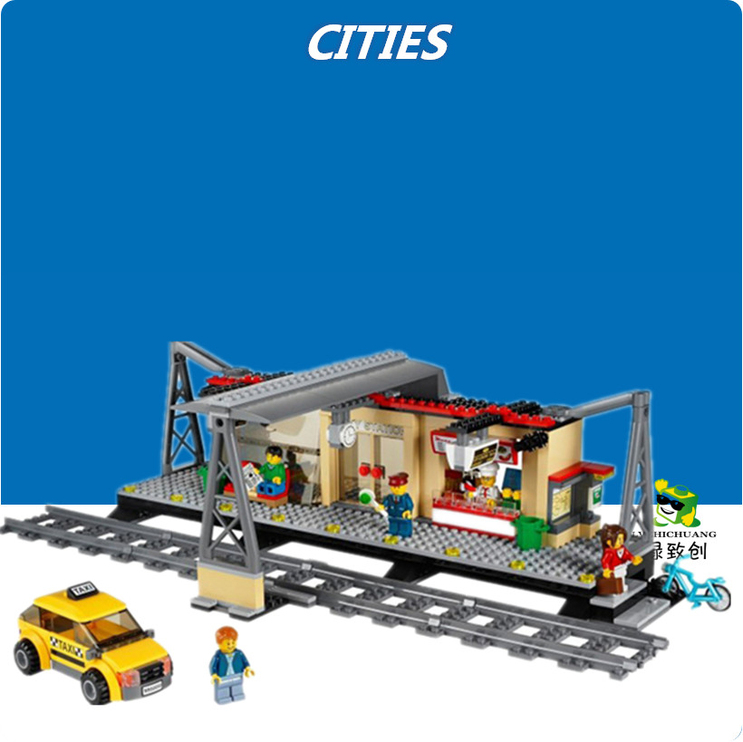 02015 Train Station lepin model Building Blocks kit Bricks City Railway Platform Toy Children compatiable with kid gift set ...