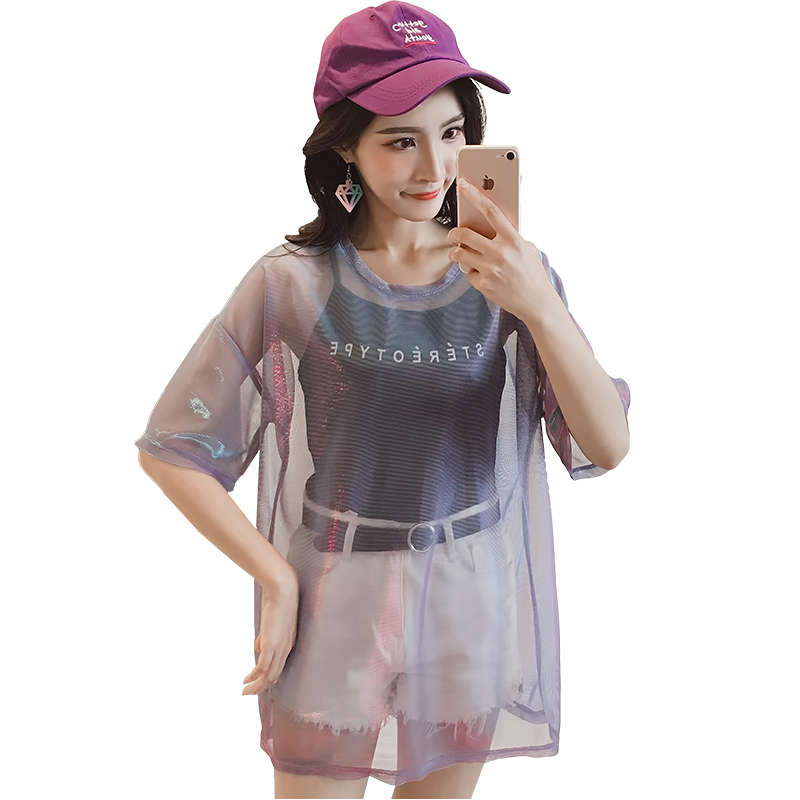 Transparent Purple T-shirt & Stereotype Strappy Black Top  1