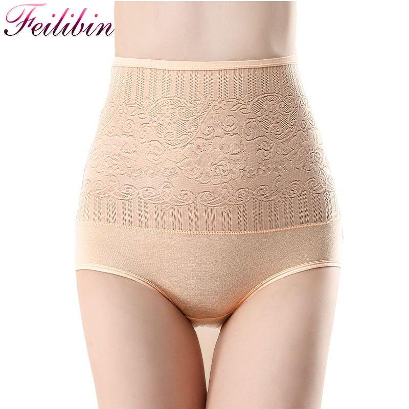 Feilibin Sexy Women's Control   Panties   Seamless High Waist Slimming Girls Briefs Body Shaperwear Soft Sexy Lace Ladies Underwear