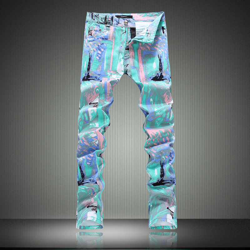 Colored drawing jeans male slim pants flower personalized print trousers plus size pants man made in